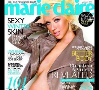 Christina Aguilera, enceinte, en couverture de Marie Claire