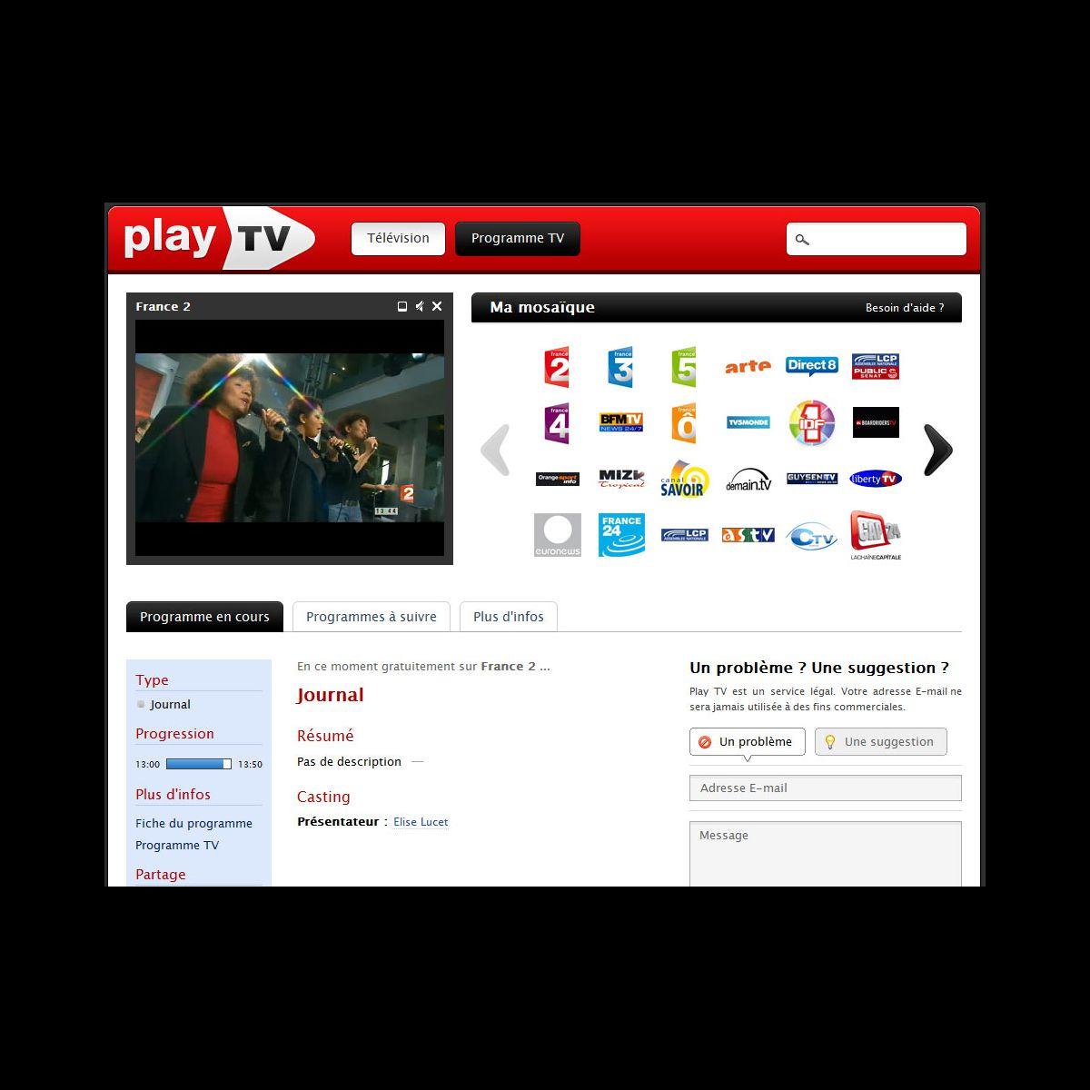 chaine de t l vision en direct sur play tv photo puremedias. Black Bedroom Furniture Sets. Home Design Ideas