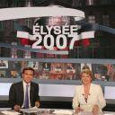 David Pujadas et Elise Lucet lors du premier tour de l'élection présidentielle (22 avril 2007)