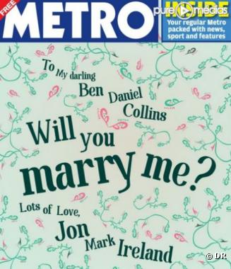 Une demande en mariage en Une du quotidien anglais Metro