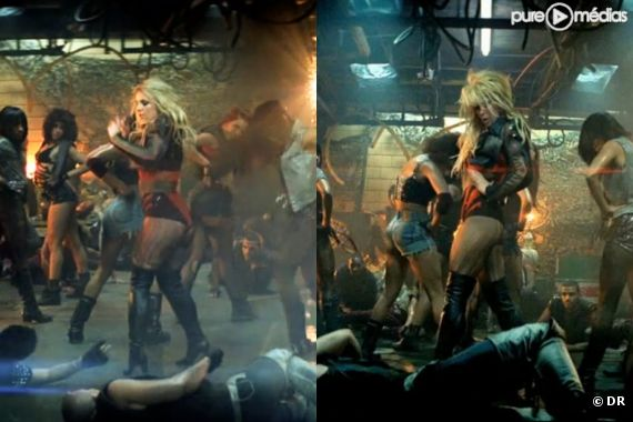 """Britney et sa doublure dans le clip de """"Till the World Ends"""""""