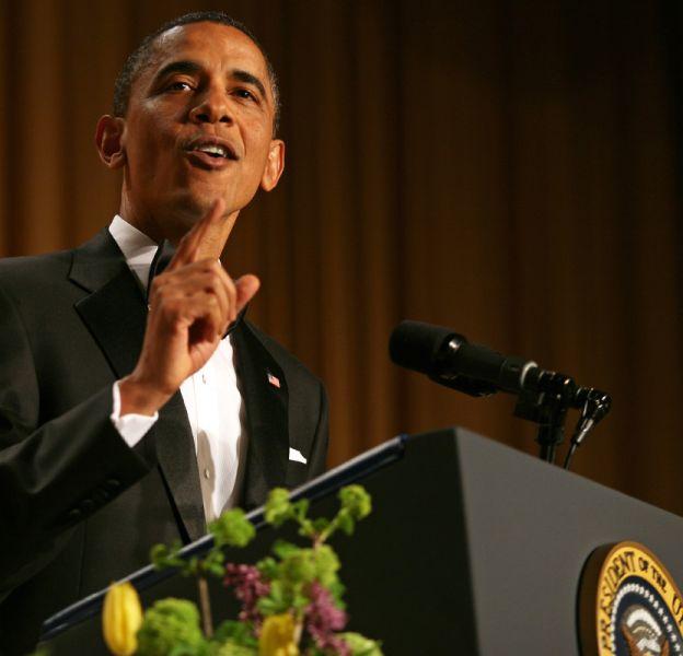 Barack Obama, lors du dîner des correspondants de la Maison Blanche le 30 avril 2011.