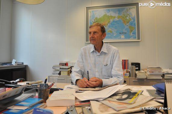 Etienne Mougeotte lors d'une conférence de rédaction du Figaro, en septembre 2009