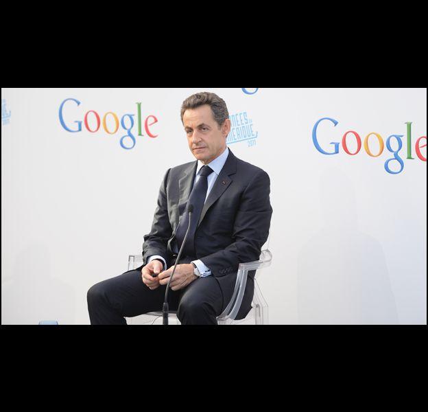 Nicolas Sarkozy, lors de l'inauguration du siège de Google à Paris.