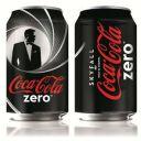 Les canettes de Coca Cola Zéro aux couleurs de James Bond.