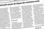 """Le quotidien """"Le Monde"""" demande le départ des deux ministres verts du gouvernement"""