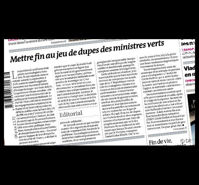 Le quotidien Le Monde, daté du 25 septembre 2012.