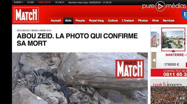 ParisMatch.fr affirme détenir la photo du cadavre d'Abou Zeid.