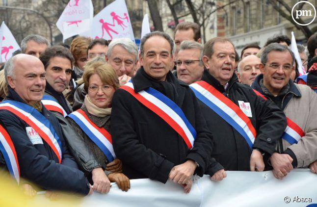 Jean-françois Copé défile contre le mariage gay, en janvier 2013 à Paris.
