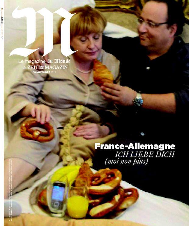 Des sosies de Francois Hollande et Angela Merkel en Une de