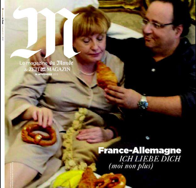 """Des sosies de Francois Hollande et Angela Merkel en Une de """"M, le magazine du monde"""""""