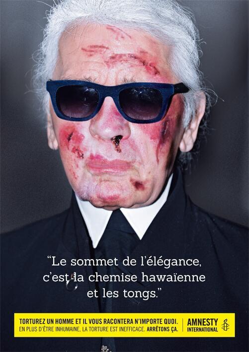 Karl Lagerfeld torturé par Amnesty International