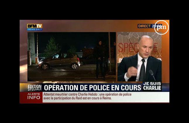La traque des terroristes à Reims, mercredi sur BFMTV.