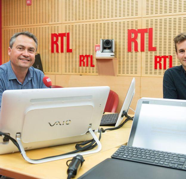 """Philippe Robuchon et Benoît Daragon, """"Les Dessous de l'Ecran"""" sur RTL."""