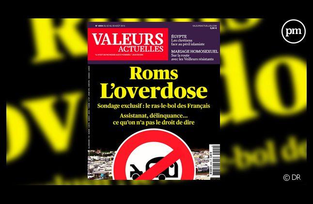 """La Une de l'hebdomadaire """"Valeurs Actuelles"""" sur les Roms."""