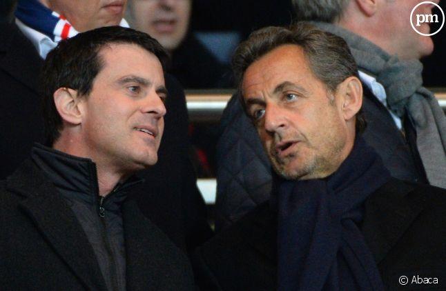 Manuel Valls et Nicolas Sarkozy au Parc des Princes en mars 2014