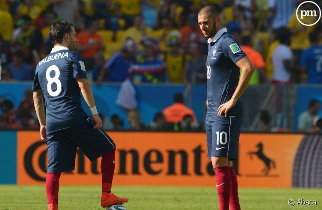 <span>Karim Benzema et Mathieu Valbuena lors de la coupe du monde 2014.</span>