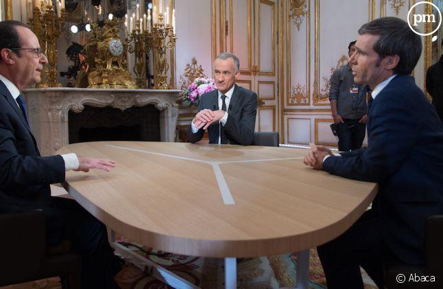 François Hollande face à Gilles Bouleau et David Pujadas le 14 juillet
