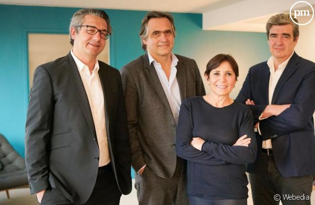 De gauche à droite : Cédric Siré, DG de Webedia, Emmanuel Chain, Véronique Morali, présidente de Webedia et Thierry Bizot