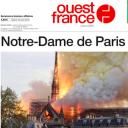 """""""Notre-Dame de Paris ravagée"""" en Une de """"Ouest France"""""""