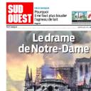 """""""Le drame de Notre-Dame"""" en Une de """"Sud Ouest"""""""