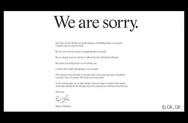 Les excuses publiques de Rupert Murdoch, publiées dans de nombreux journaux étrangers.