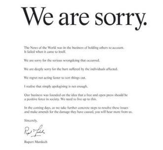 Les excuses publiques de Rupert Murdoch, publiées dans de...