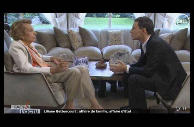"""Liliane Bettencourt face à Marc-Olivier Fogiel dans """"Face à l'actu"""" en octobre 2011 sur M6"""