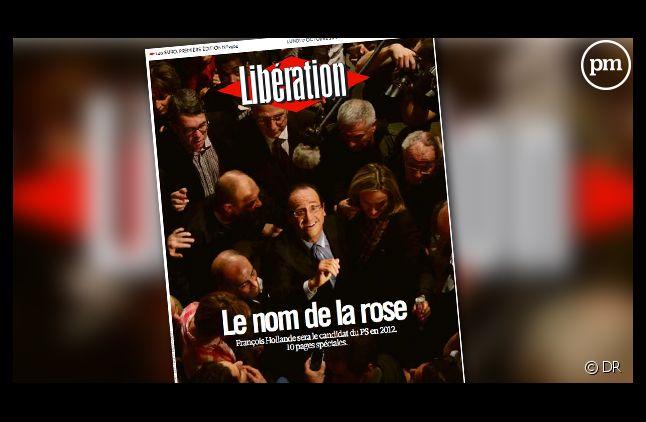 La Une de Libération du 17 octobre 2011 célébrant la victoire de François Hollande à la primaire PS.