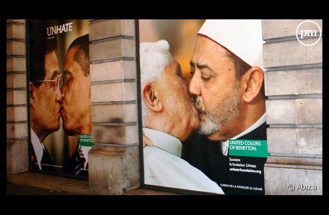 La nouvelle campagne de publicité de la marque Benetton affichée à Paris
