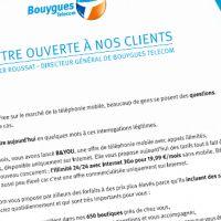 Bouygues Telecom adresse un courrier à ses clients dans la presse pour parler de Free Mobile