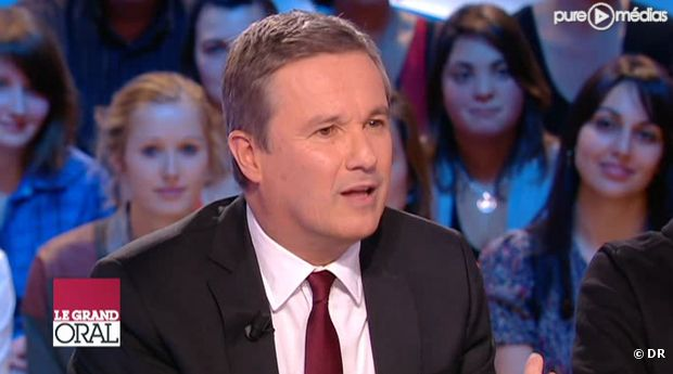 """Nicolas Dupont-Aignan, sur le plateau du """"Grand Journal"""" le 18 janvier 2012."""