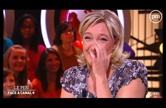 """Marine Le Pen, sur le plateau du """"Petit Journal"""" le 9 mars 2012."""