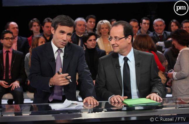 """""""Des paroles et des actes"""" avec François Hollande et David Pujadas."""