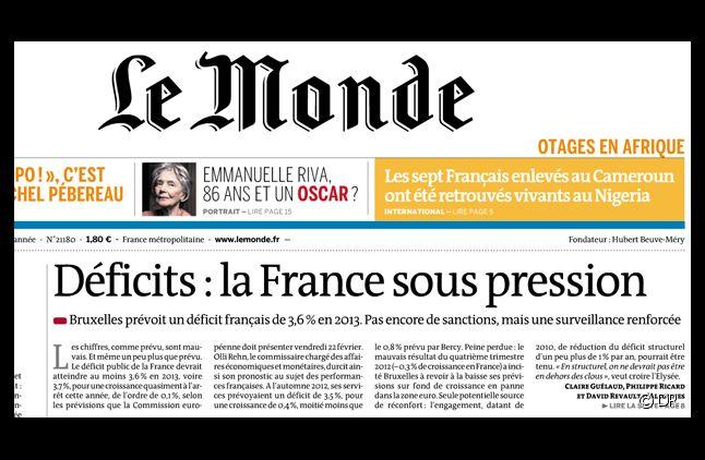 """La Une du quotidien """"Le Monde"""" daté du 22 février 2013."""