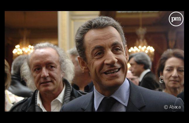 <span>Didier Barbelivien et Nicolas Sarkozy, en 2007.</span>