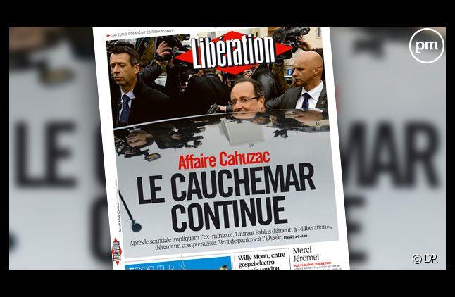 """La Une de Libération du 8 avril 2013 : """"Le cauchemar continue""""."""