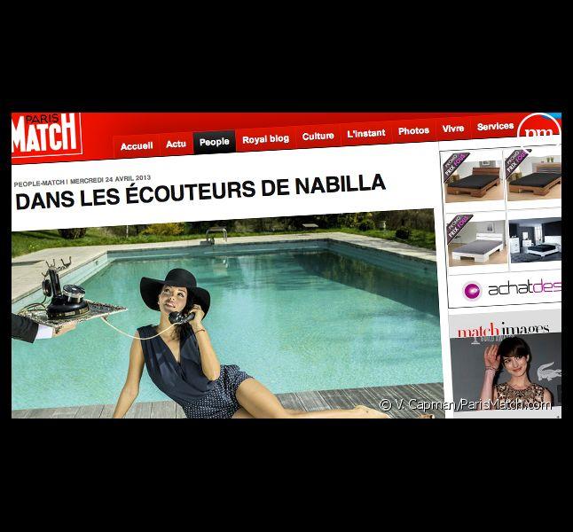 """Nabilla pose pour """"Paris Match""""."""