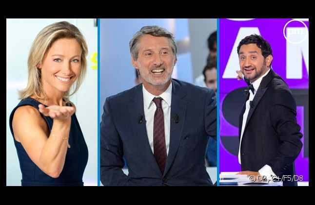 Anne-Sophie Lapix, Antoine de Caunes et Cyril Hanouna.