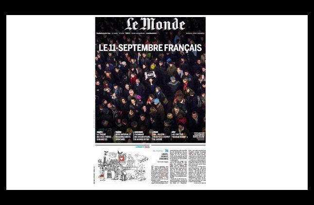 """La Une du journal """"Le Monde"""", daté du 9 janvier 2015."""