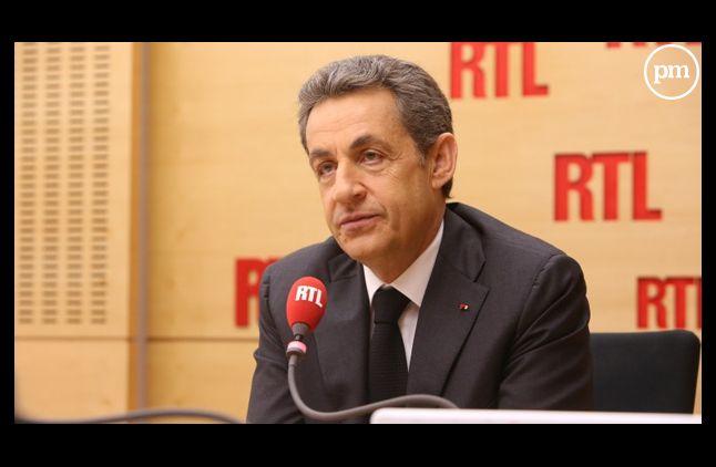 Nicolas Sarkozy, dans les studios de RTL.