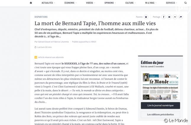 """Article du """"Monde"""" (Capture)"""