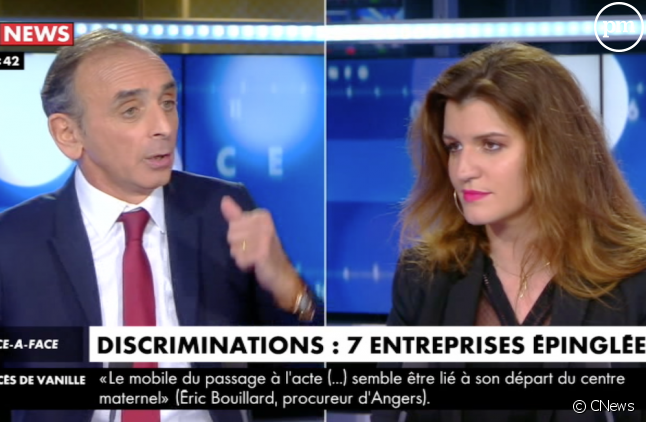 Eric Zemmour et Marlène Schiappa hier sur CNews