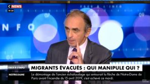 """""""On a le droit à la brutalité"""" : Eric Zemmour justifie sur CNews la violente évacuation des migrants de République"""
