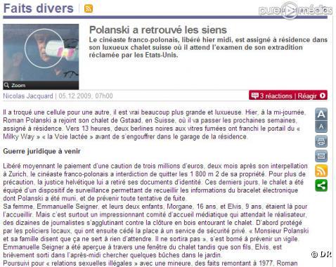 """Un article du """"Parisien"""" du 5 décembre 2009"""