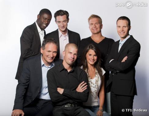 Eric Hannezo (en bas) entouré des animateurs du service des sports de TF1
