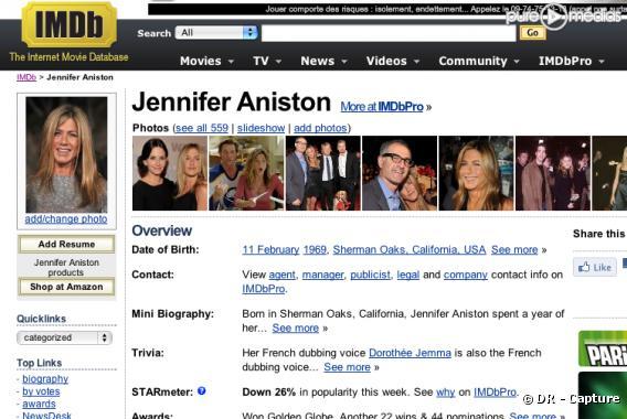 La fiche de Jennifer Aniston sur le site IMDb.