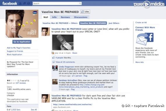 La page facebook du produit Vaseline Men