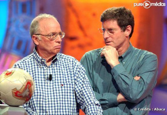 Thierry Roland et Jean-Michel Larqué, en 2002