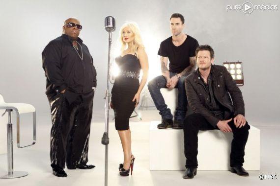 """Cee-Lo Green, Christina Aguilera, Adam Levine et Blake Shelton sont les jurés de """"The Voice"""""""
